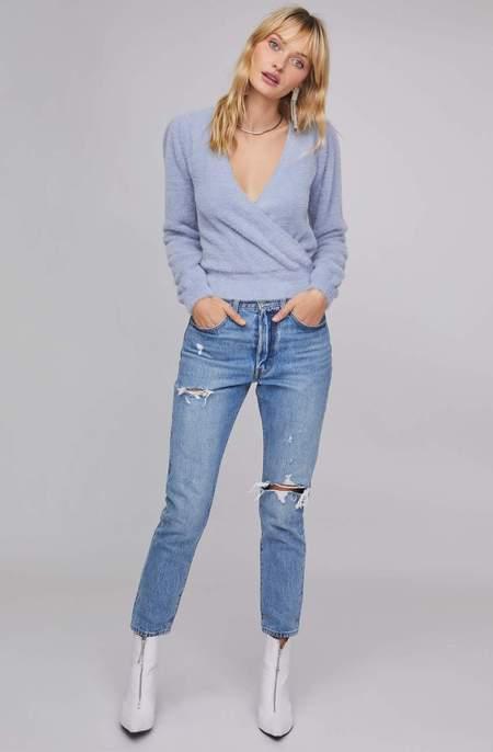 ASTR The Label Sheresa Wrap Sweater - Soft Blue