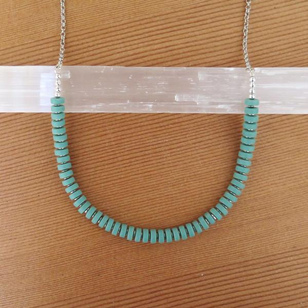 RHINO Long green Sea Glass Necklace
