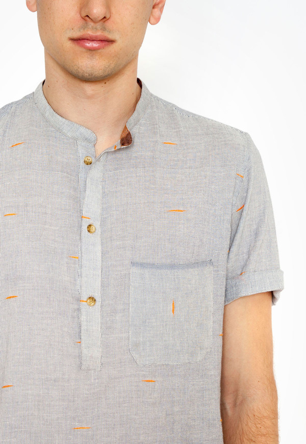 Azimpur Popover Shirt with Orange Ticking