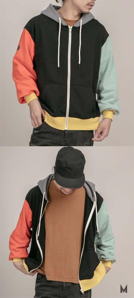 Unisex MATTER MATTERS Colourblock full zip hoodie - Black/Yellow/Orange