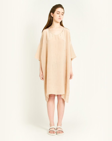 Revisited Matters Knots Silk Dress in Taupe