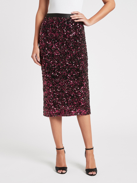 Rebecca Taylor Stretch Sequin Skirt - Plum