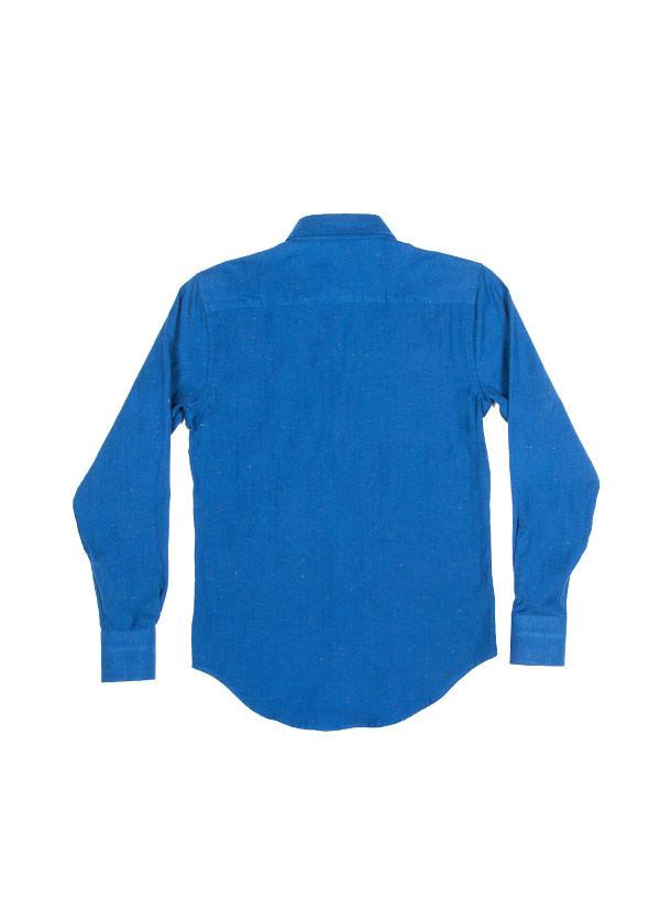 Men's Naked & Famous Denim - Regular Shirt in Soft Blue Herringbone