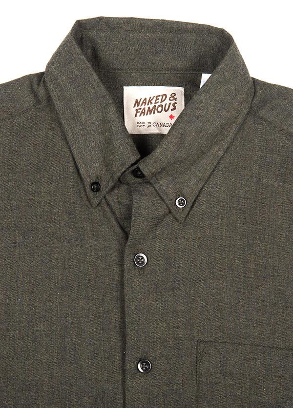 Men's Naked & Famous Denim - Regular Shirt in Soft Brushed Twill Charcoal