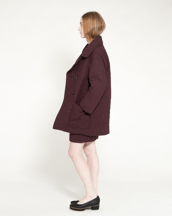 Caron Callahan Quilted Levin Coat in Raisin