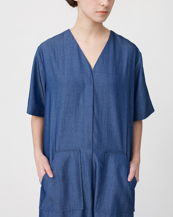 Achro Tencil Denim Dress in Dark Blue
