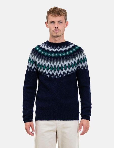 Norse Projects Birnir Fairisle Knitted Sweater - Dark Navy Blue