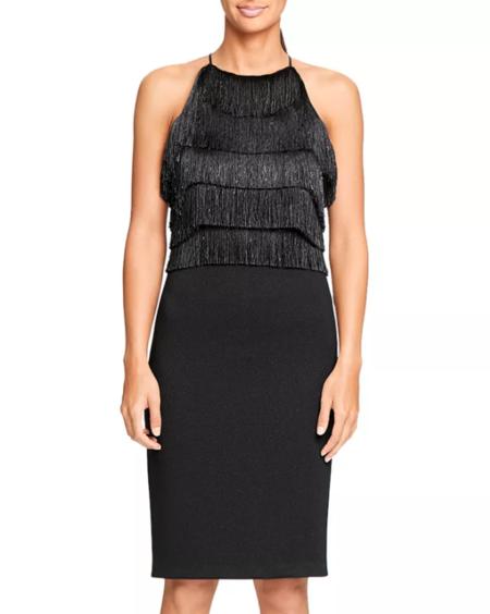 Halston Heritage Fringe Trimmed Dress - Black