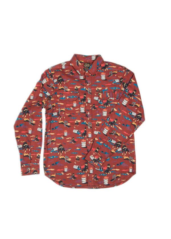 Men's Obey - City Hunt Shirt in Burnt Henna