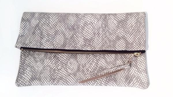 Oliveve Anastasia In Grey Cobra Embossed Cow Leather