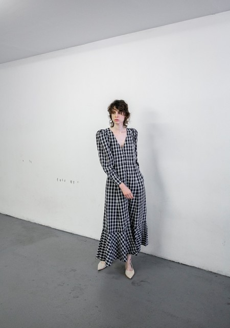 MR. LARKIN PENNY LONG SLEEVE DRESS - NAVY PLAID