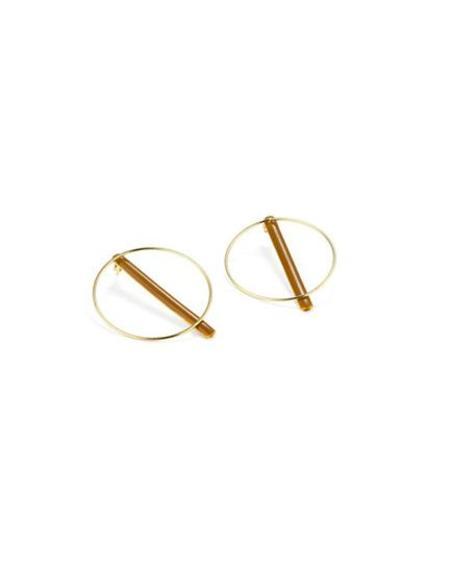 Rita Row Bi-position circle and bar earrings - ochre