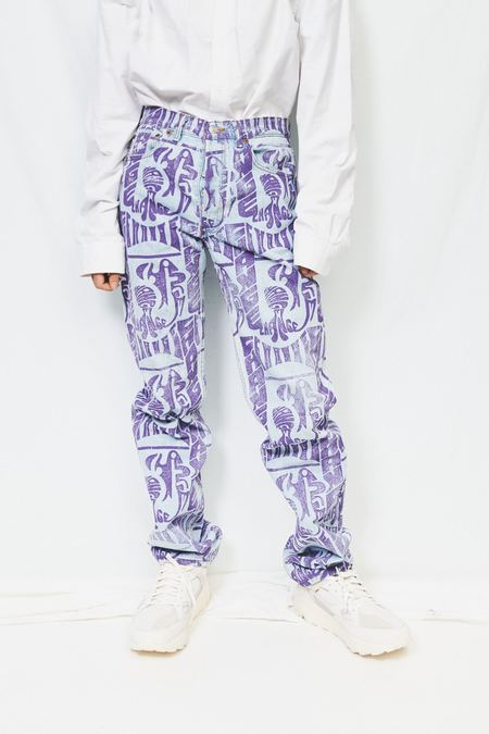 Cute Earth Printed Change Jean - Blue