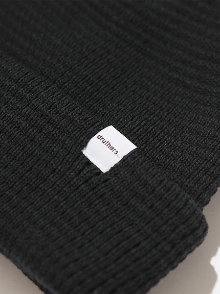 Druthers Organic Cotton Waffle Knit Beanie - Black