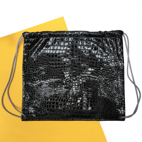Slow and Steady Wins the Race Drawstring Backpack in Black Embossed Croc with Grey Straps