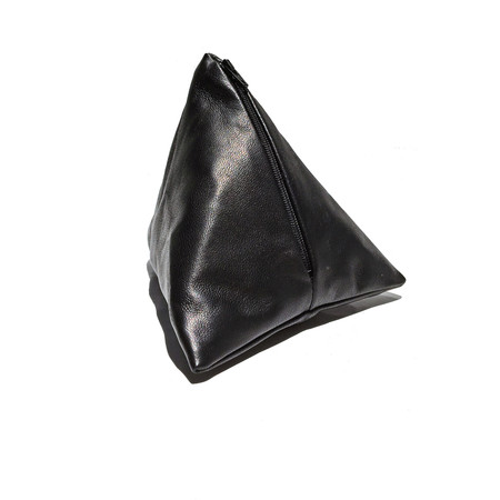 Slow and Steady Wins the Race Pyramid Coin Purse in Black Leather