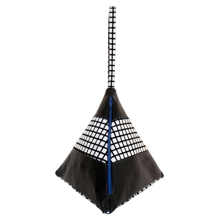Slow and Steady Wins the Race Striped Pyramid Bag in Black with Black and White Grid