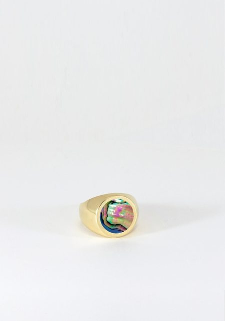 Legier Round Stone Signet Ring - Abalone