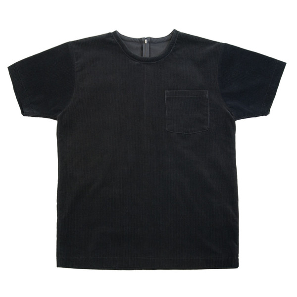 White T-Shirt in Black Corduroy