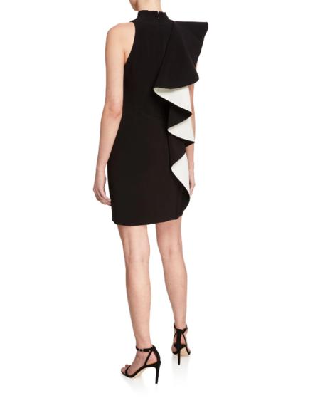 Halston Heritage Flounce Crepe Dress - Black/Chalk