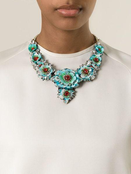 Shourouk swarovski floral necklace