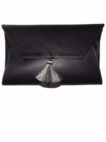 Oliveve Cleo Envelope Clutch In Black Cow Leather With Horsehair Tassel