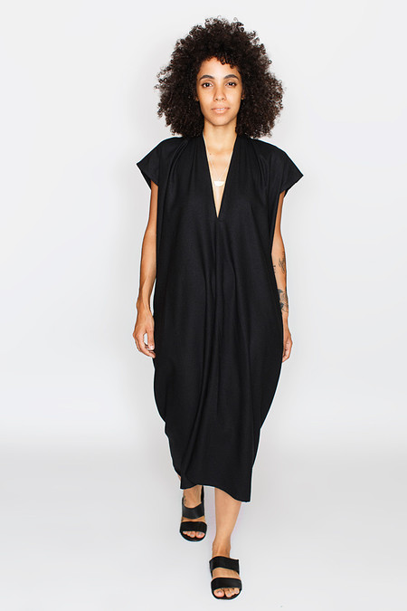 Miranda Bennett Everyday Dress, Oversized, Silk Noil in Black