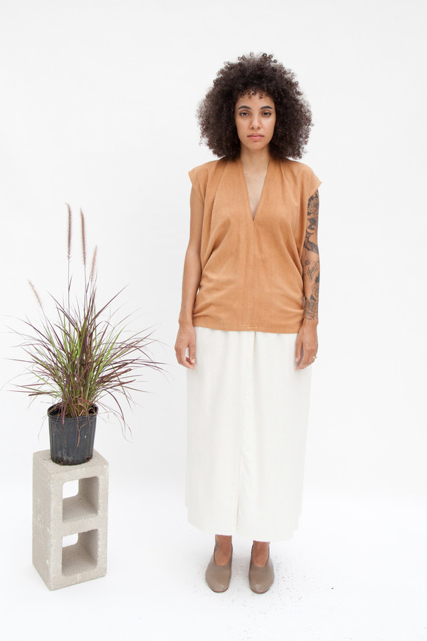Miranda Bennett  Everyday Top, Silk Noil in Camel