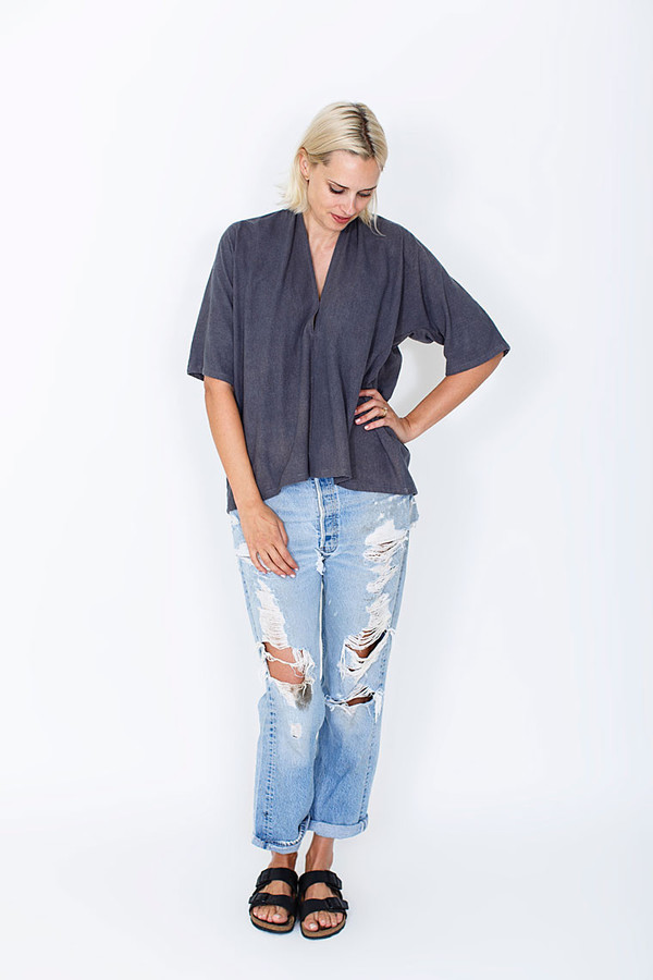 Miranda Bennett Muse Top, Silk Noil in Coal