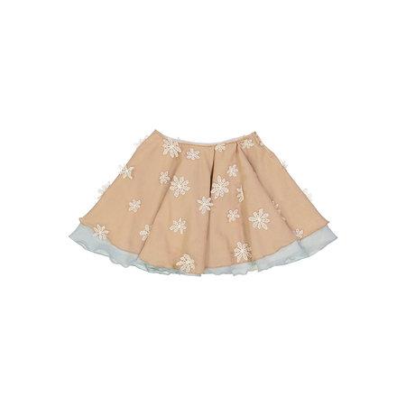 Kids Petit Mioche hand dyed skirt - flower appliqué