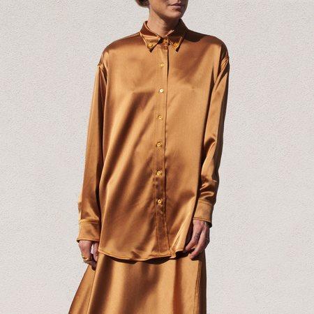 SIES MARJAN Kiki Crinkled Satin Oversized Shirt - Praline