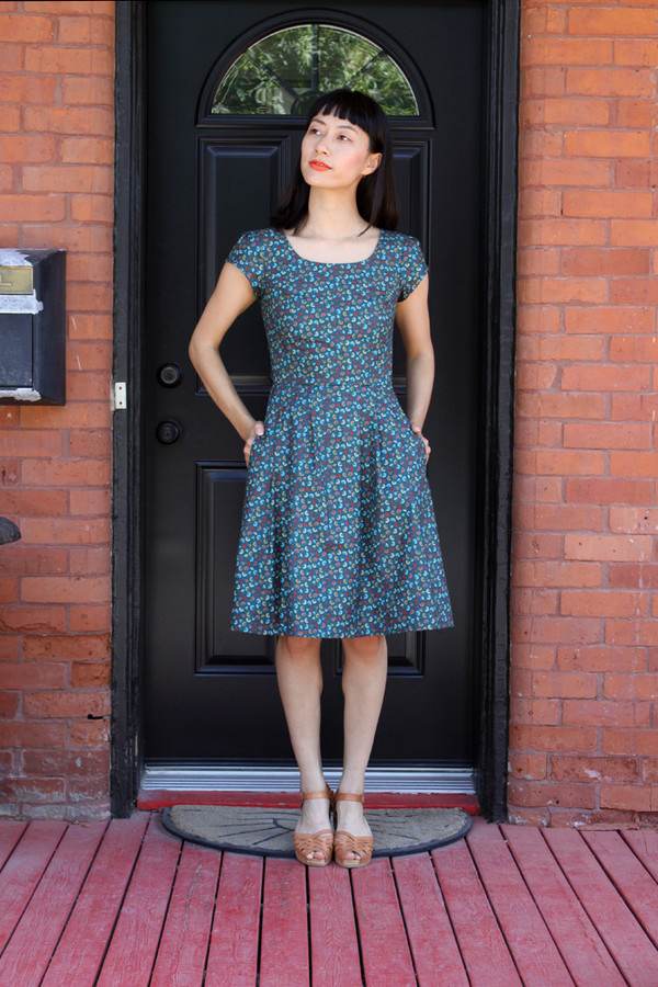 Birds of North America Macaw Dress (Teal Fans)