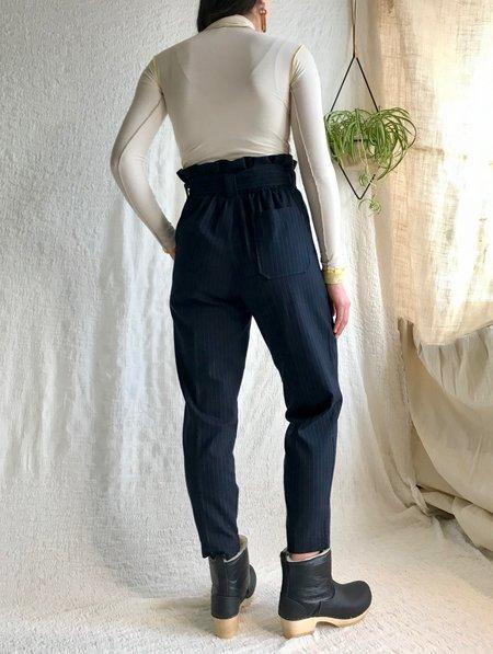 Stateside Suiting Pinstripe Paperbag Pants - Navy