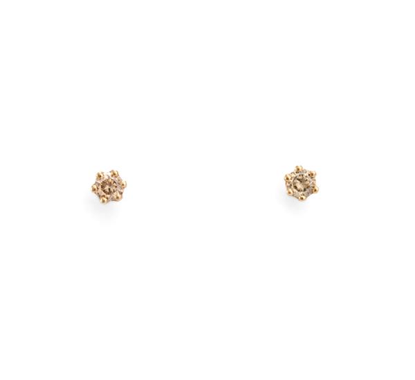 14K Brown Diamond Studs by Satomi Kawakita