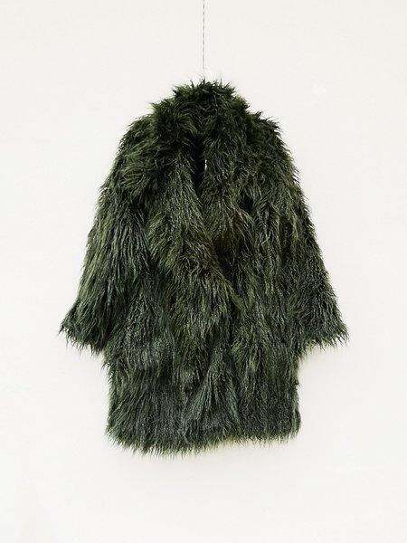 Berenik Faux Fur Shaggy Coat - Dark Green