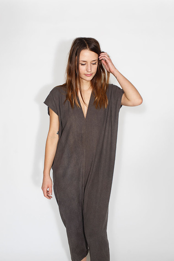 Miranda Bennett Everyday Jumpsuit, Silk Noil in Coal