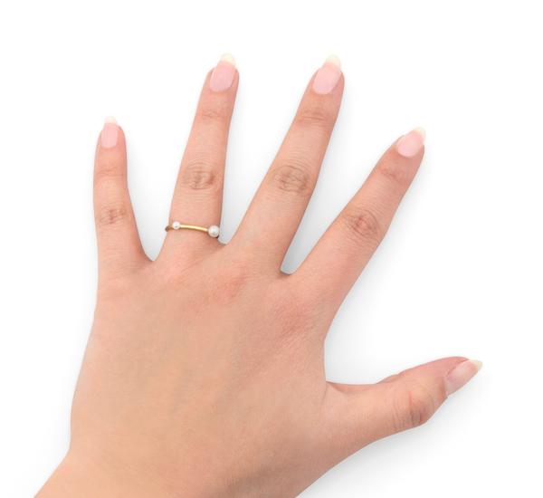 18K Peripheral Double Pearl Ring  by Satomi Kawakita