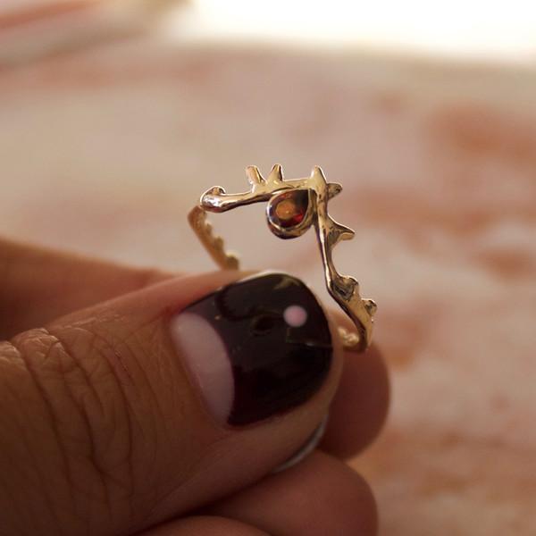 garnet crown of thorns ring
