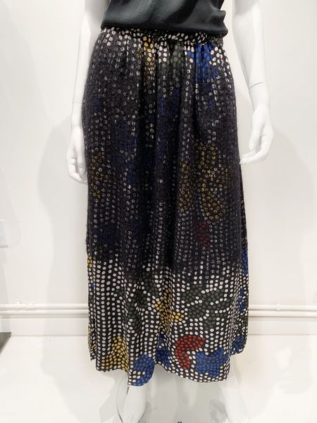 MII silk polka dot skirt with wool embroidery