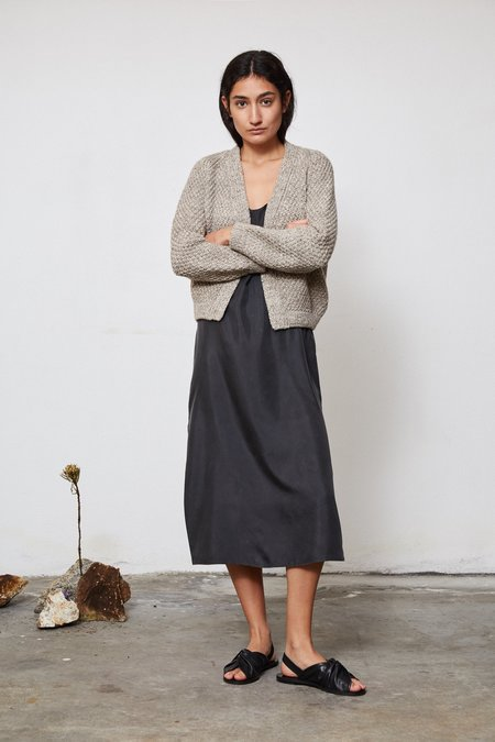 OUND HAND KNITTED SAUCO WOOL CARDIGAN - STONE