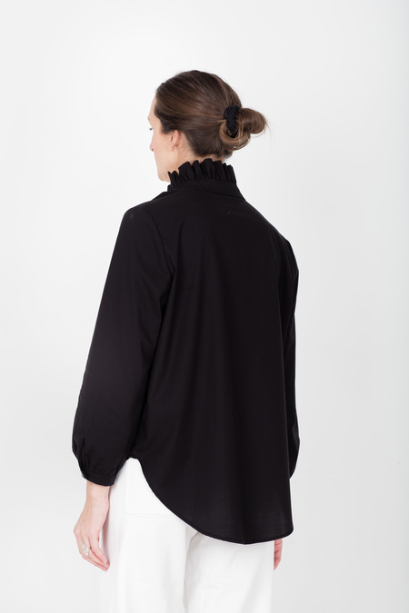 Pley Faye Ruffle Collar Shirt - Black