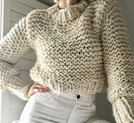 Bozidara Hand Knit Mock Neck Sweater - Cream