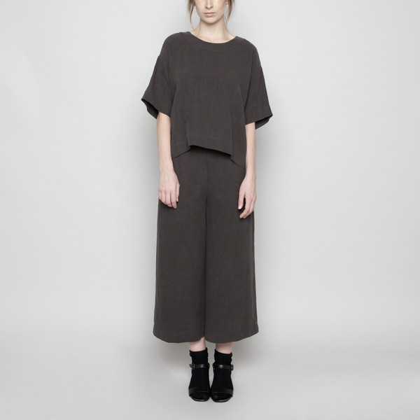 7115 by Szeki Wide-Legged Cropped Trouser-Gray FW16