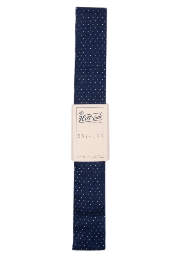 The Hill-Side - Linen Indigo Discharge Print Tie, Pindot