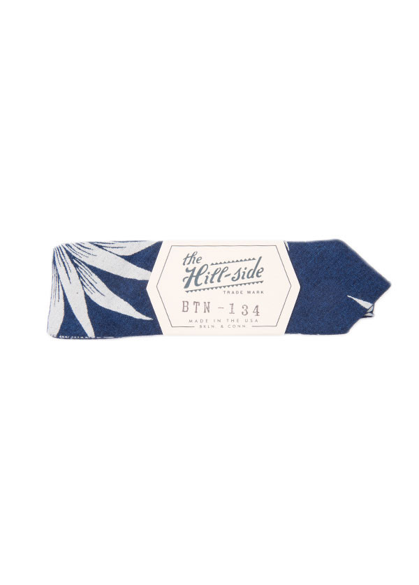 The Hill-Side - Pineapples Discharge Print Bow Tie in Indigo / White