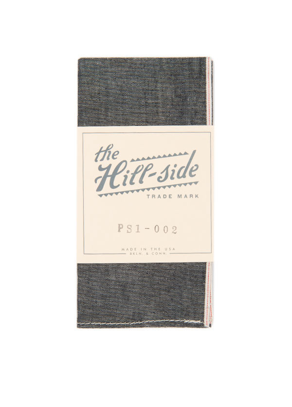 The Hill-Side - Selvedge Chambray Pocket Square, Black