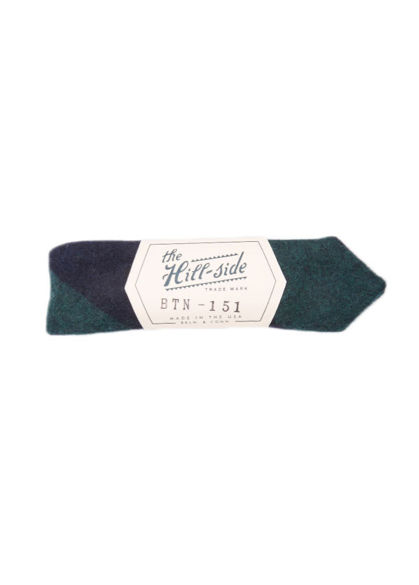 The Hill-Side - Wool / Cotton Blend Border Stripe Flannel Bow Tie in Navy / Green