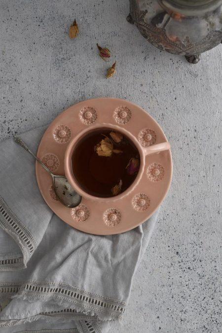 OWO Cerámica Victorian Pink Cup & Saucer Set
