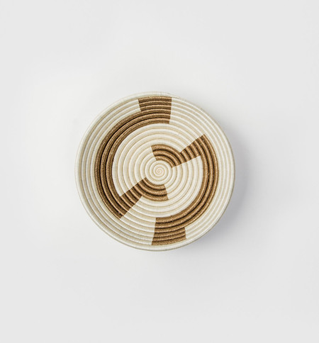 Indego Africa White Geometric Gold Plateau Basket