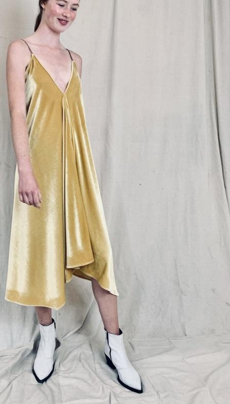 Anderst Isabel A-line Halter Velvet Dress - Yellow
